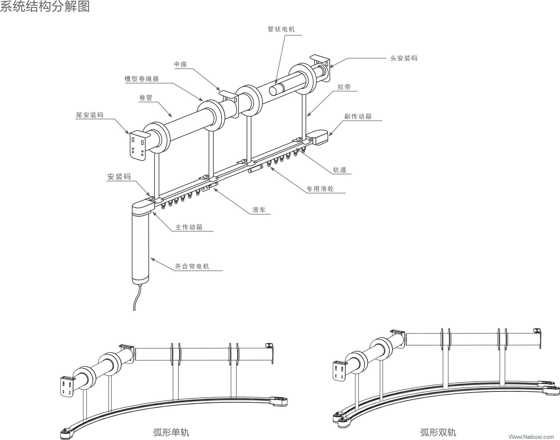 Z-B08A开合帘带升降套装